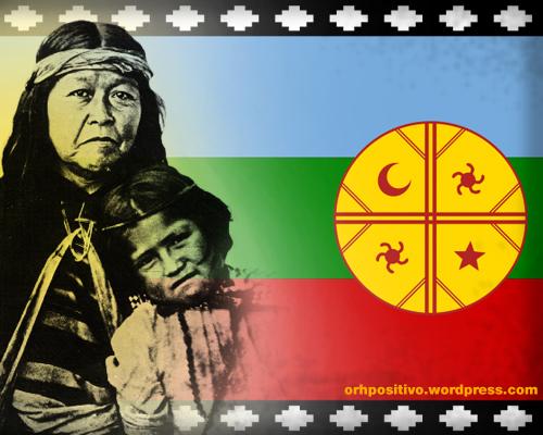 Mapuche flag woman child